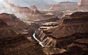 гранд каньон, каньон, скалы, дымка, вечер, аризона