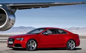 ауди, купе, прасный.передок, самолёт, крыло, турбина, горы, небо, Audi