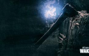 Alan Wake, game, Poster, ax, log, light, darkness, twilight