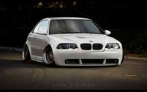 bmw, m3, e46, stance, works, HD, white, car