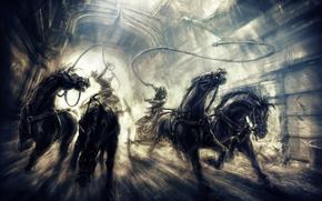 principe, Cavallo, inseguimento, due troni