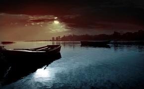 natura, paesaggio, fiume, acqua, notte, luna, cielo, nuvole, Barche