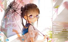 девушка, цветы, зонтик, очки, крылья