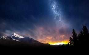 swiss, night, sky, небо, звезды, космос, природа, млечный, путь