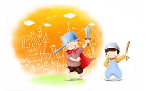 рисунок, детство, мальчики, малыши, игры, шалости, игрушки, меч, кастрюля, радость
