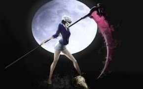 Девушка, взгляд, шапочка, блузка, шорты, коса, смерть, череп, луна, черный фон