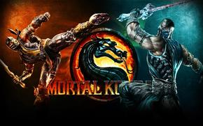 eternal enemies, Versus, fight, scorpion, Sub Zero, Mortal Kombat, n, cue, kick, sword, two pieces, fire, flame, intensity of emotions, a storm of emotions, muscle, strong hands, Mortal Kombat, ice, wallpaper, wide range of colors, dragon, logo, inscripti