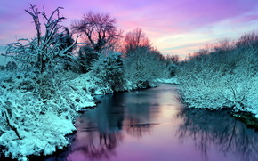 Winter, river, nature, landscape