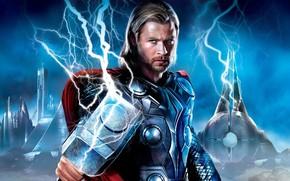 Top, hammer, lightning, gate, city, protagonist