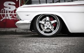 классика, передок, импала, тюнинг, шевроле, белый, диски, хром, Chevrolet