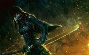 арт, девушка, воин, меч, катана, маска, ночь, искры, дождь