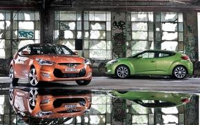 Hyundai, Veloster, scomparto, arancione, verde, finestre, pozzanghera, riflessione, Hyundai