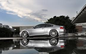 BMW, silver, pool, reflection, Miami, bmw