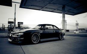Nissan, Sylvia, noir, poste d'essence, Nissan