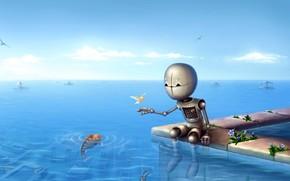 Roboter, Fisch, Horizont, Meer
