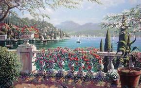 malarstwo, Bob Payman, Bellagio, Wochy, miasto, jezioro, Jezioro Como, eglowa, kwiaty, Roses, cyprys