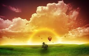 nature, fantasy, sun, sunset, greens