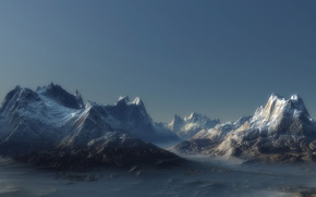 пейзаж, горы, пик, туман, скалы, ландшафт