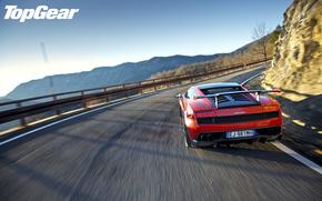 Top Gear, Top Gear, el mejor programa de televisin, Supercar, Vista posterior de la, rojo, Spoiler, ala, carretera, Montaas, cielo, Lamborghini