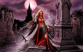 Gothic, full moon, cemetery, vampire, blood