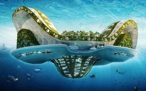 future, city, water