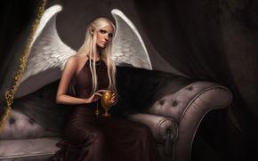 angel, sofa, goblet