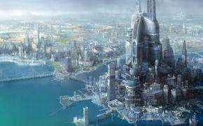 future, city, Port