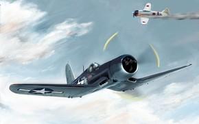 самолет, бой, небо, война