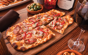 pizza, food, table, board, goblet, wine, Italy