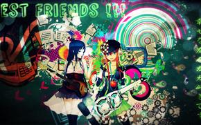 blue eyes, open mouth, blue hair, two girls, Stockings, bare shoulders, inscription, orange hair, headphones, varnish, guitar, apple, cap