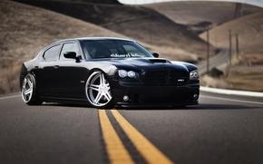 автомобиль, додж, чарджер, черный, тюнинг, обоя, Dodge