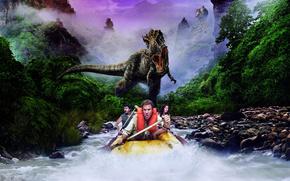 Lost World, Land of the Lost, Will Ferrell, giungla, dinosauro, piccolo fiume, corso, barca, pagaia, tre, inseguimento, nebbia, Montagne, pietre, eeriness, film, Film, film