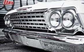 классика, передок, импала, тюнинг, шевроле, белый, диски, хром, фары, макро, логотип, Chevrolet