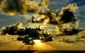 облака, солнце, море