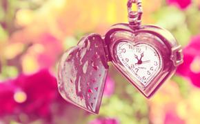 часы, сердце, цепочка, цветы, лето