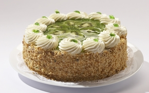 background, cake, kiwi, cream, jelly, plate, holiday