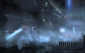 Город, будущее, огни, дождь, летательный аппарат, небоскребы, крыши, прожектор