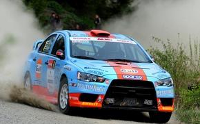 Mitsubishi, Lancer, Evolyushin-X, Car, wallpaper, machine, rotation, road, dust, Mitsubishi