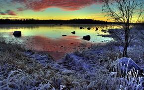 invierno, lago, puesta del sol, escarcha, paisaje