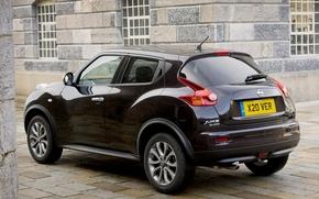 Nissan, Juke, amplo, jipe, cruzamento, vista traseira, preto, casa, janela, Nissan