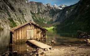 National Geographic, Montagne, lago, acqua, casa, pietre
