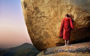 Будда, Чайттийо, пагода, Золотая гора, монах, Бирма, Мьянма