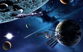 スペース, 惑星, 船, 芸術, レンダー