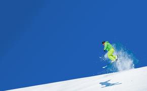 Ski, sauter, neige, Montagnes, ciel, Sport, skieur