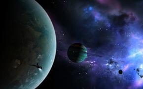 космос, планеты, корабль, кольца, туманность