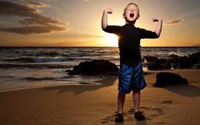 ragazzo, tramonto, mare, forza, stato d'animo