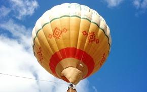 Шар, Воздушный шар, небо, голубой, оранжевый