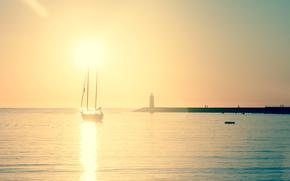 sunset, Majorca, sea, sun