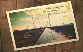 cartolina, Rails, cielo, Filo, telefono, Pilastri, albero, bordo, Antico