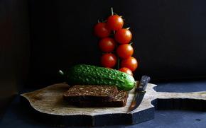 хлеб, огурец, помидоры, нож, еда